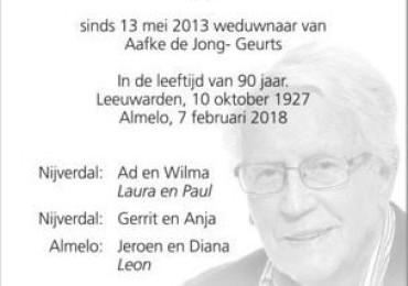 In memoriam: Cor de Jong